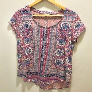 Lucky Brand pink floral tee shirt sleeve shirt